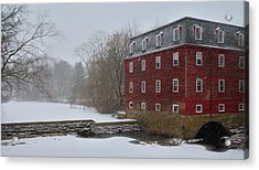 Acrylic Print featuring the photograph Kingston Mill In Winter Storm by Steven Richman