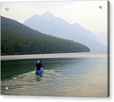 Kintla Lake Paddlers Acrylic Print by Marty Koch