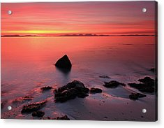 Acrylic Print featuring the photograph Kintyre Rocky Sunset 2 by Grant Glendinning