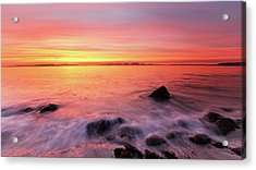 Acrylic Print featuring the photograph Kintyre Rocky Sunset 3 by Grant Glendinning