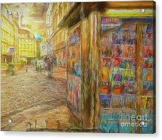 Kiosk - Prague Street Scene Acrylic Print