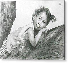 Kirikou, Dreaming -- Portrait Of Little African-american Girl Acrylic Print