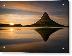 Kirkjufell Reflection Acrylic Print by Swen Stroop