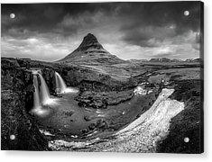 Kirkjufellsfoss Dawn Monochrome  Acrylic Print