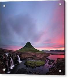 Kirkjufellsfoss Waterfalls Iceland Square Version Acrylic Print