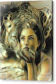 Kiss Of The Leopard Woman Acrylic Print