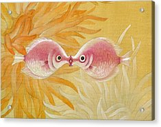 Kissing Fishes Acrylic Print by Ying Wong