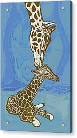 Kissing - Giraffe Stylised Pop Art Poster Acrylic Print
