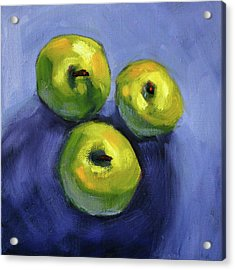 Acrylic Print featuring the painting Kitchen Pears Still Life by Nancy Merkle