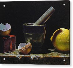 Kitchen Still Life With Red Box Acrylic Print by Jeffrey Hayes