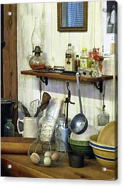 Kitchen With Wire Basket Of Eggs Acrylic Print by Susan Savad