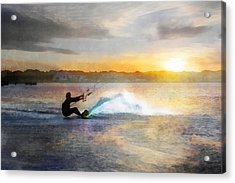 Kite Boarding At Sunset Acrylic Print