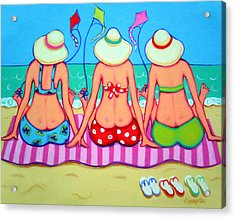Kite Flying 101 - Girlfriends On Beach Acrylic Print