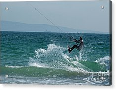Kite Surfer Jumping Over A Wave Acrylic Print by Sami Sarkis