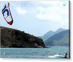 Kite Surfer St Kitts Acrylic Print by Ian  MacDonald