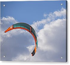 Kiteboard Sail In The Clouds On Pompano Beach Florida Acrylic Print by Toby McGuire