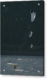 Kiteboarding On The Columbia River Acrylic Print by Skip Brown