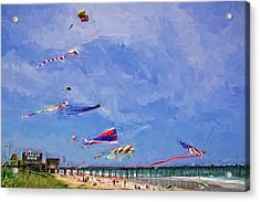 Kites At The Flagler Beach Pier Acrylic Print