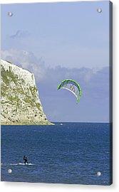 Kitesurfer At Yaverland Acrylic Print by Rod Johnson