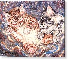 Kittens Sleeping Acrylic Print by Linda Mears