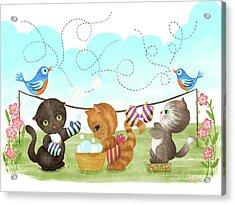 Kittens Washing Mittens Acrylic Print