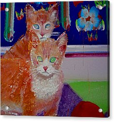 Kittens With Wild Wallpaper Acrylic Print by Charles Stuart