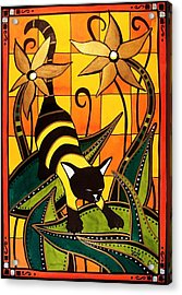 Kitty Bee - Cat Art By Dora Hathazi Mendes Acrylic Print by Dora Hathazi Mendes