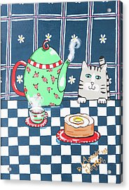 Kitty Cat Tea Time Acrylic Print