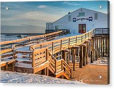 Kitty Hawk Pier In Snow 6652 Acrylic Print
