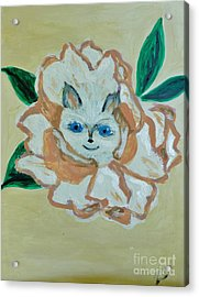 Kitty In The Magnolia Blossom Acrylic Print by Marie Bulger