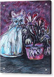 Kitty With Flowers Acrylic Print