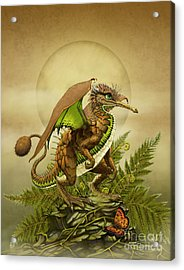 Acrylic Print featuring the digital art Kiwi Dragon by Stanley Morrison