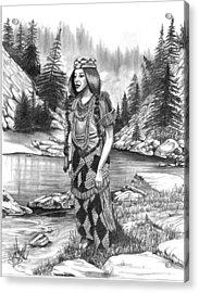 Klamath Indian Woman Acrylic Print by Cheryl Poland