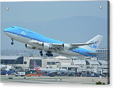 Acrylic Print featuring the photograph Klm Boeing 747-406m Ph-bfh Los Angeles International Airport May 3 2016 by Brian Lockett