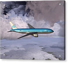 Klm Boeing 777 Acrylic Print by Mike Ray