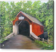 Knechts Covered Bridge Acrylic Print by Loretta Luglio