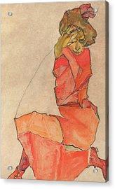 Kneeling Female In Orange-red Dress Acrylic Print