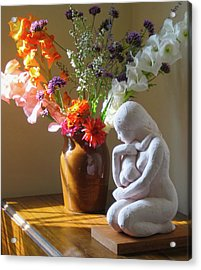 Kneeling Mother And Child Acrylic Print by Deborah Dendler