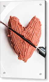 Knife Cutting Heart Shape Chocolate On Plate Acrylic Print by Jorgo Photography - Wall Art Gallery