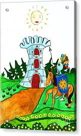 Brave Knight-errant And His Funny Wise Horse Acrylic Print