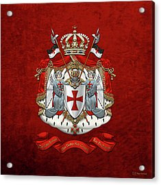 Knights Templar - Coat Of Arms Over Red Velvet Acrylic Print