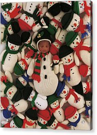 Knitted Snowman Acrylic Print