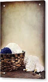 Knitting Supplies Acrylic Print by Stephanie Frey
