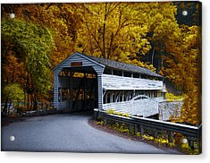 Knox Covered Bridge At Valley Forge In Autumn Acrylic Print