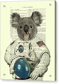 Koala In Space Illustration Acrylic Print by Madame Memento