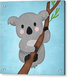 Koala On Blue Acrylic Print