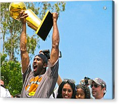 Kobe And The Trophy Acrylic Print by Carl Jackson