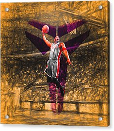 Kobe Bryant Black Mamba Digital Painting Acrylic Print by David Haskett