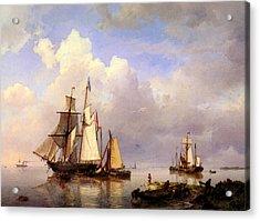 Koekkoek Hermanus Vessels At Anchor In Estuary With Fisherman Acrylic Print