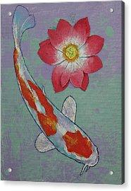 Koi And Lotus Acrylic Print by Michael Creese